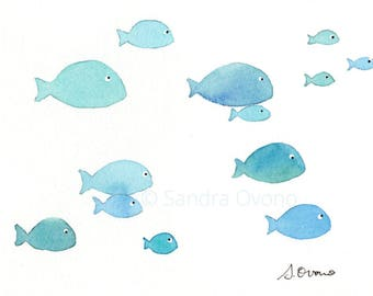 School of Fish Original Watercolor Painting. Blue Fish Illustration. Kids room wall decor, Nautical Nursery Art, Beach Cottage Decor