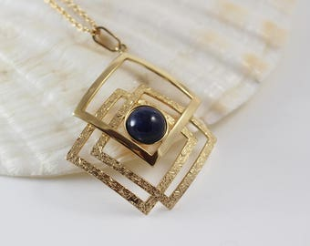 1970s Rolled Gold Geometric Square Linked Pendant with Blue Domed Stone on Chain