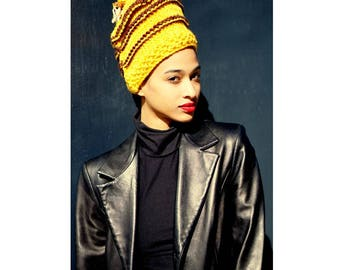 Crown with Cowries. Cowry Shell Hat. Loc Hat. Dreadlock Hat. Knit Hat.  Ta Ankh.