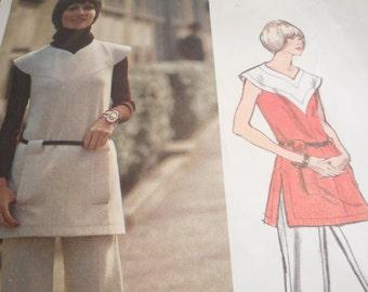 Vintage 1960's Vogue 2698 Paris Original Pierre Cardin Tunic and Pants Sewing Pattern Size 12 Bust 34