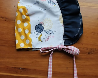 Sunbonnet, bonnet , fall toddler girls sun hat, boho, size 18 months to 3 years, black gingham, one of a kind, ready to ship sunbonnet