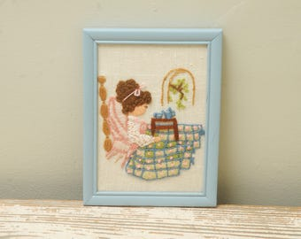 Girl with Tea Needlepoint Quilt