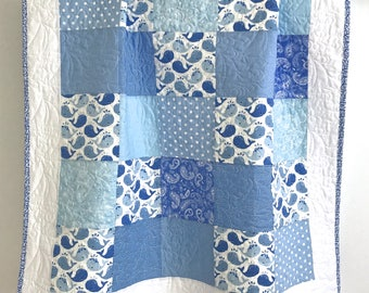 Modern Baby Boy Quilt Featuring Whimsical Whales Blue White