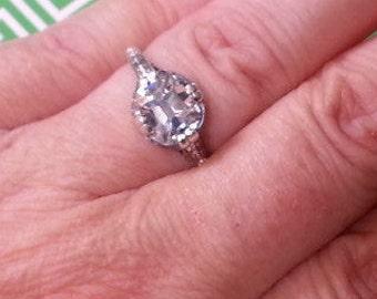 Edwardian Engagement Ring - Antique Reproduction Engagement Ring - Old Mine Cut Engagement Ring