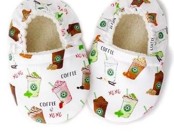 Coffee Baby Shoes. Organic Baby Booties. Vegan Baby Shoes. Frappe Crib Shoes. Baby Shower Gift. New Baby Essentials