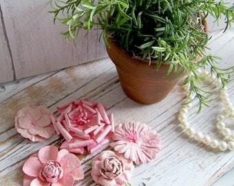 Set of 6 Pink Paper Flowers, Pink Paper Flowers, Scrapbook Flowers, Flowers, Shabby and Chic Flowers, Romantic Flowers, Flower Sets