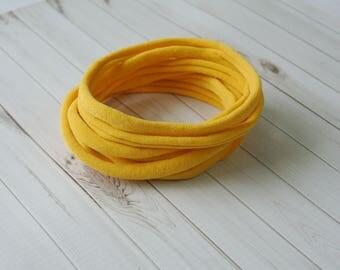 Mustard nylon headbands, super thin soft stretchy, one size fits all headband, wholesale nylon headbands, diy headband, elastic headband