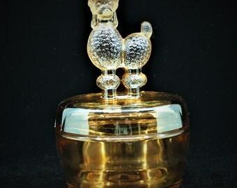 Jeannette Glass Powder Box Poodle Carnival Glass Marigold