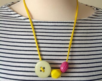 Chunky Geo Necklace, Button and Bead Multistrand Necklace in Bright Yellow, Fuschia and Sage Green - Statement Necklace
