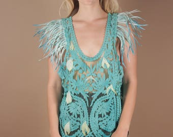 One of a Kind Turquoise Lace Bird Feathers Avant Garde Blouse | Unique Rare Costume Blue Bird