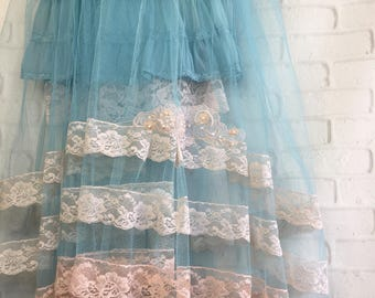 pale peach peach & aqua tulle and lace boho prom dress by mermaid miss Kristin
