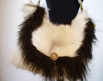 Fur bag with real leather shoulder strap -handmade