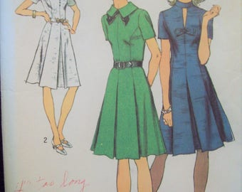 Princess Seamed Dress with Collar Variations 1970s Simplicity Pattern 5181 Cut Size 14
