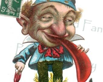 Fun APRIL FOOL'S Digital Download, Vintage French Postcard Illustration, Printable