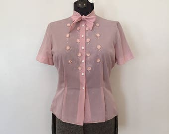 Vintage Pussy Bow Blouse / Med/Large / Pink Blouse