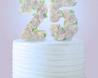 25th Anniversary Cake Topper - 25th Birthday Cake Topper - Edible Cake Topper - Silver Anniversary Cake Decoration - Chocolate Cake Topper