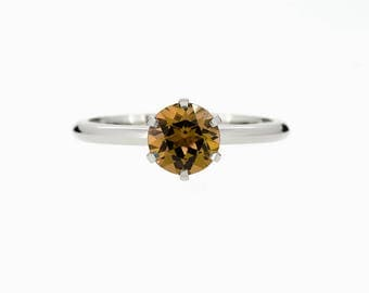 Citrine engagement ring, solitaire, yellow gold, white gold, citrine wedding, thin, simple ring, yellow gemstone, unique engagement, orange