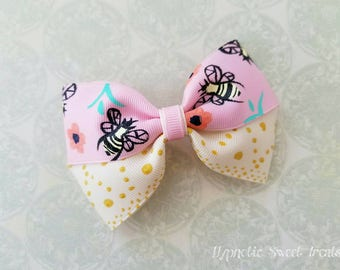 Summer Hair Bow, Honey Bee headband, Deluxe hairbow, Bumble bee Headband, Hand Painted Hairbow, Girls Hair Bows, 4 inch bow, Bee Baby shower