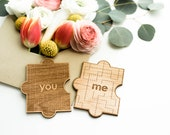 You & Me Wood Puzzle Shape Card [Love / Five Year, Fifth, 5th Anniversary / Custom Anniversary Card / Valentine Card / Missing Piece]