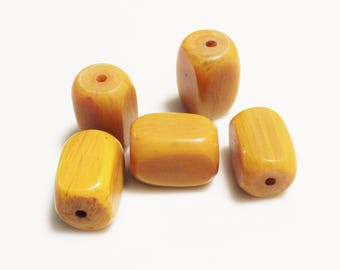 African Amber Resin Beads, Rectangle Resin Beads, Ethnic Beads, Tribal Beads (AL87)