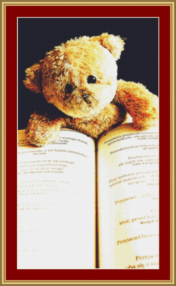 Teddy Reading Cross Stitch Pattern /Digital PDF Files /Instant downloadable