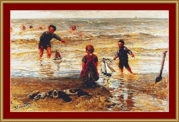 Children On The Beach Cross Stitch Pattern /Digital PDF Files /Instant downloadable