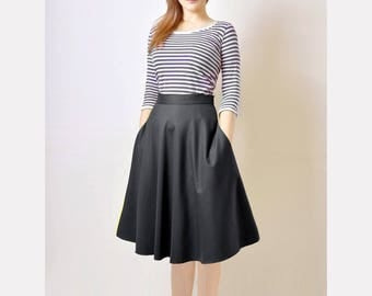 Midi Skirt, High Waist Skirt, Black Flared Skirt, 50s Skirt with Pockets