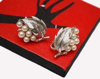 Trifari Rhinestone Clip on Earrings - White pearl - Silver leaf  - Mid Century Crown Trifari Jewelry