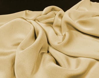 Beige Yellow Silk Crepe, Soft Fabric, Remnant Fabric, Dress Fabric, Opaque Material, Flowy Material, Beige Material