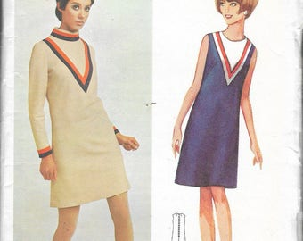 "Vintage 1967 Butterick 4420 Young Designer Mary Quant Mod One-Piece Dress Sewing Pattern Size 14 Bust 34"" UNCUT"