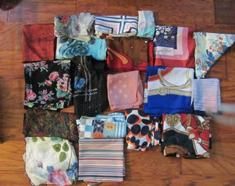 Scarf Lot of 19 Vintage Scarves - Assorted Colors Sizes Fabrics (8J)