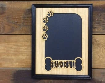 11x14 Personalized Dog Name Photo Frame, Dog Memorial Frame, Dog Lover Gift, Dog Bone Paws Frame, Dog Keepsake, Puppy Picture Frame