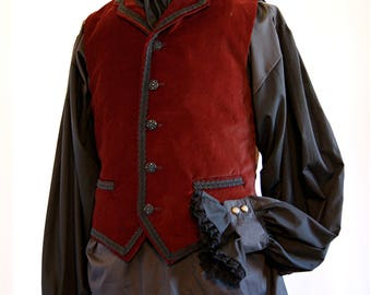 Braid Trim brown Velvet Collared Waistcoat chest 36 inches Goth Steampunk Victorian Chap Obsidian SALE