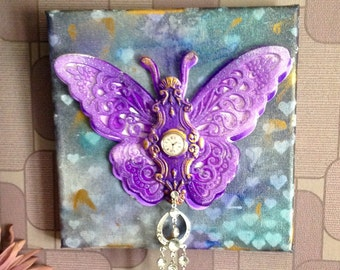 Mixed Media Butterfly Canvas As Time Fly's By
