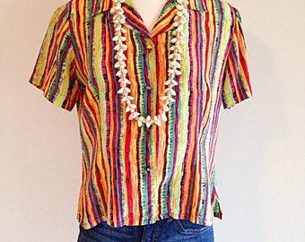 Vintage 1990s Summer Stripes Silk Blouse