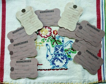 HOMEMADE GIFT TAGS, Gift Tags, Homemade Food Tags, 7 Gypsies, Canning Tags, Homemade Tags, Homemade Jam Tags, Gift Tags for Baked Goods