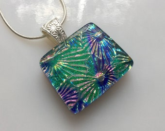 Dichroic Glass Pendant, Fused Glass Jewelry, Green Blue Flower Starburst Necklace