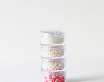 Valentine's Sprinkle Stacks - Sprinkles, Mix, Jimmies, Non Pariels and Sugar Pearls, Heart Confetti, Valentine's Day, White, Pink