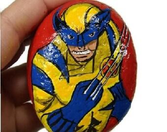 Pocket Wolverine Super Hero painted rock, X-Men, Avengers, Marvel comics