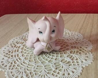 Mid Century Pink Elephant Ceramic Figurine