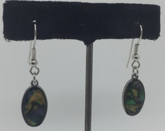 Vintage Polished Abalone Shell Dangle Earrings