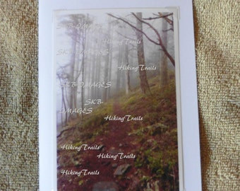 Photo Note Card, Fog On Eagles Rest Trail, forest wall art, woodland style, forest decor, path decor, Fine Art Photography by HikingTrails
