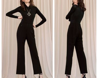 aa79cdd69085 vintage 1996 DONNA KARAN Black Label demi couture sheer panel wool jumpsuit  catsuit