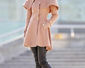 Cape coat, wool coat, coat, jacket, womens coat, midi coat, brown coat, Military jacket, Military coat, winter coat C167