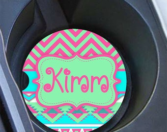 Monogram car coaster, Cute pink car cup coaster, Aztec car decor, Pink car coaster, Tribal in pink and soft green, Gift for teen (1290)