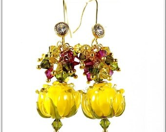 DAFFODIL earrings gold plated lampwork glass spun main.uniques Crystal-made.
