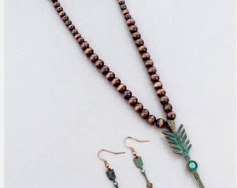 Arrow Pendant Necklace and Earring Set