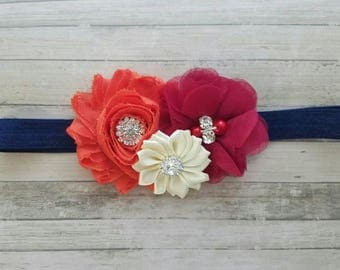 Fall Baby Headband, Infant Headband, Newborn Headband, Baby Headband, Navy, Burgundy, Burnt Orange, and Ivory