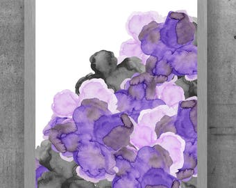 Purple And Black Wall Decor, 11x14, Bold Flower Print, Purple And Gray  Flowers