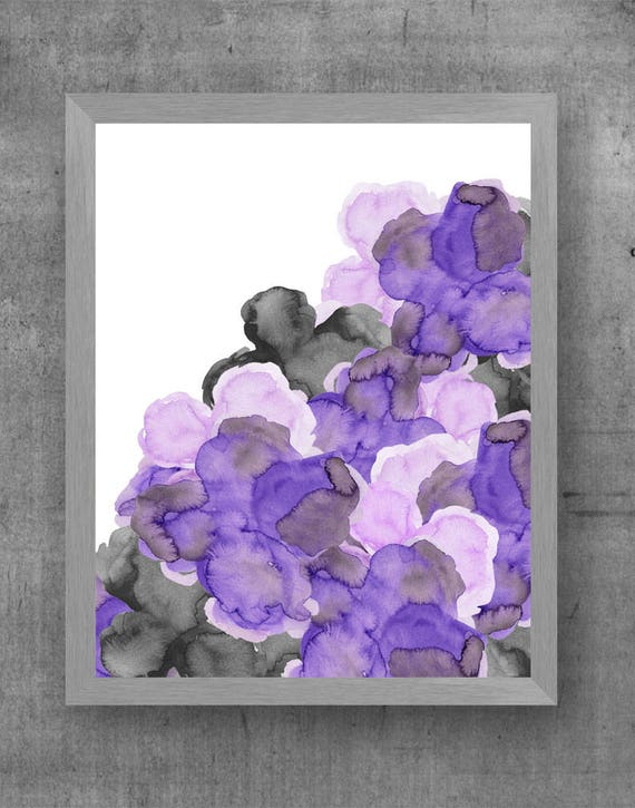 Purple and Black Wall Decor, 11x14 Flower Print